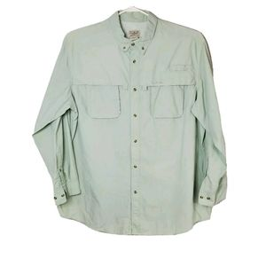 L.L. Bean XXL Light Green Button Up Fishing Shirt